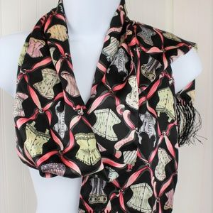Nick & Nora Silk Corsets and Ribbons Scarf